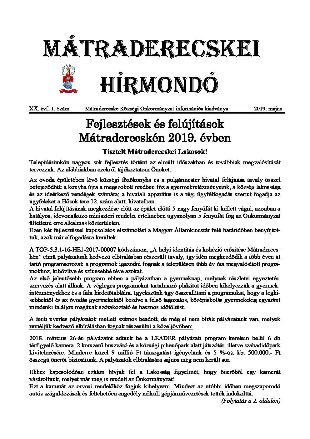 Mátraderecskei Hírmondó - 2019. május